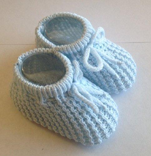 Bebé patucos de punto recién nacido patucos tamaño 0–3meses rosa blanco o azul azul azul azul