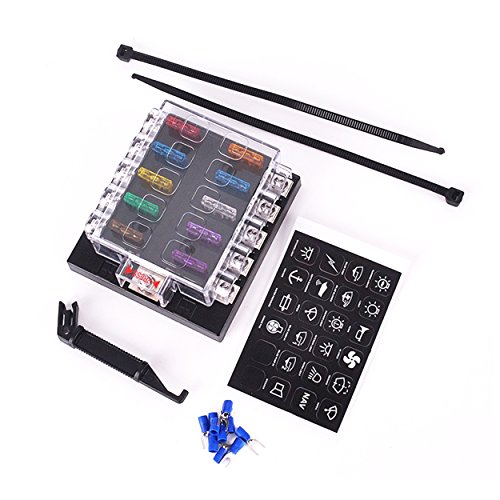 DC 32V 10 Way Terminals Circuit Car Auto Blade Fuse Box Block Holder ATC ATO with fuse and connectors