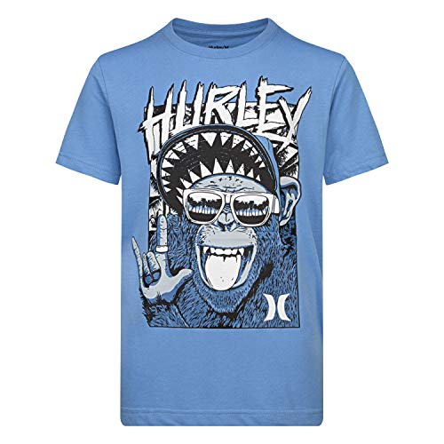 Hurley Boys' Little Character Graphic T-Shirt, Light Blue Monkey Biz, 5 (Girl Little Clothing Hurley)