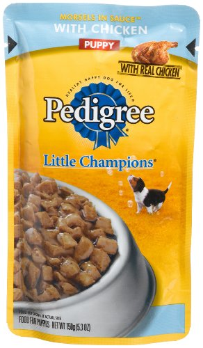 Pedigree Little Champions Morsels in Sauce with Chicken Food for Puppies, 5.3-Ounce Pouches (Pack of 24), My Pet Supplies