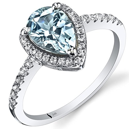14K White Gold Aquamarine Open Halo Ring Pear Shape 1.00 Carats Sizes 5 to 9