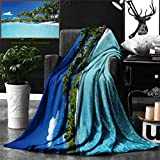 Unique Custom Double Sides Print Flannel Blankets Ocean Decor Relax Beach Resort Spa Palm Trees And Sea Super Soft Blanketry for Bed Couch, Throw Blanket 60 x 50 Inches