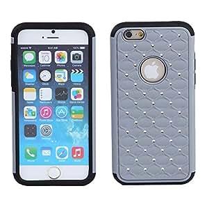 Okai Dual Layer Deluxe Diamond Rhinestone Hybrid High Impact Protective shell for iPhone 6 4.7 inch-Gray