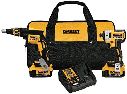 DEWALT 20V MAX XR Drywall Screw Gun Impact Driver Kit, 4.0-Amp Hour DCK267M2