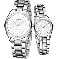 Jiusko Swiss - His Hers Couples Quartz Dress Wrist Watches - Sapphire - Silver Tungsten Steel - 325