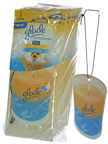 Glade Hanging Paper Candle Design Car & Home Air Freshener, Sunny Days & Clean Linen (Pack of 12) (Clean Linen Car Freshener)