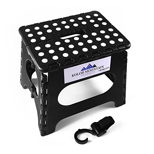 Kolob Mountain Folding Step Stool with Storage Hook and Carrying Handle - Anti Slip Dots in Black (Vintage Piano Stool compare prices)