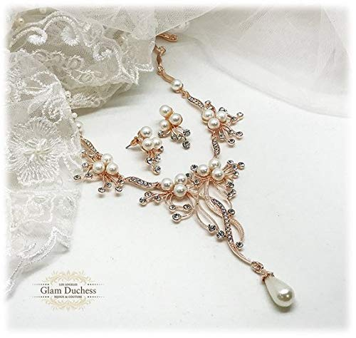 4b73fe935 Image Unavailable. Image not available for. Color: Bridal Backdrop Necklace  Earrings Pearl & Crystal Wedding Jewelry Set