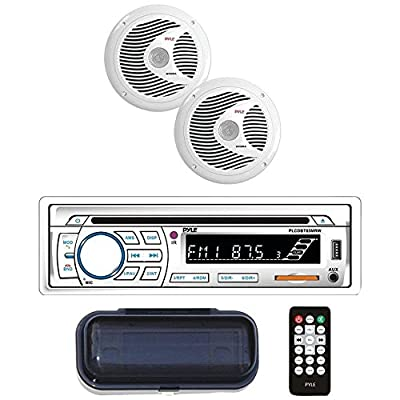 "Pyle(r) Plcdbt65mrw Marine Single-Din In-Dash Cd Am/fm Receiver With Two 6.5"" Speakers, Splashproof Radio Cover & Blueto"