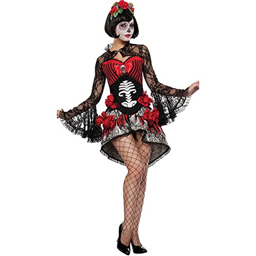 [ZNFQC Women Zambie Flowers Skeleton Ghost Bride Halloween Costume] (Pirate Bride Costume)