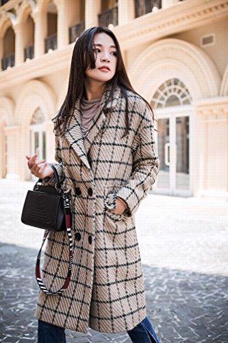 lattice Was Winter Thin the Beige Lattice 'S WYF Coat Coat and Woolen Women of Section Coat Long Autumn n7xOT4wF