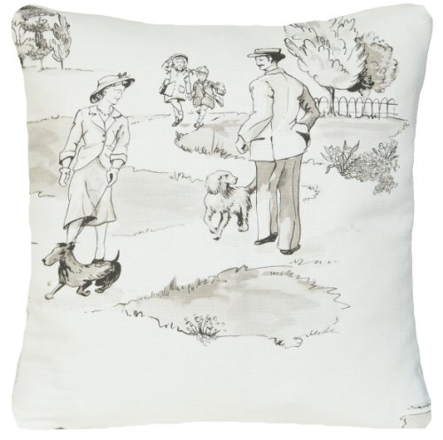 Cream Decorative Pillow Case Grey Pattern Randevou Cushion Cover Nina Campbell Fabric Promenade