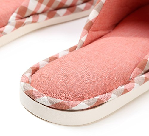 Blubi Mujeres Checks Open Toe Cómodo Flax House Slippers Summer Slippers Red