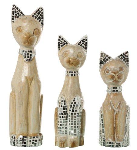 SuskaRegalos - Set 3 Figuras Gatos Madera C/adornos Cristal-madera:albasia _13x11,5x50+13x11x40+11x10x35c: Amazon.es: Hogar