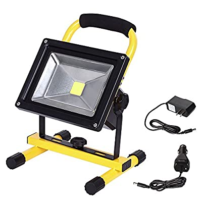 LTE LED Rechargeable Work Light, LTE Portable Outdoor Flood Light With Adapter and Car Charger,Outdoor Camping Security Lights 6000K Waterproof IP65 Daylight White