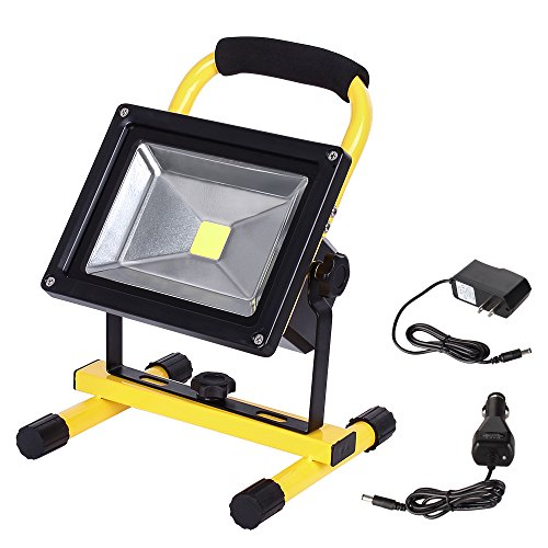 LTE LED Rechargeable Work Light 20W 1800LM Portable Outdoor Flood Light Waterproof Camping Security Lights 6000K IP65 Daylight White by LTE LIGHTING EVEN