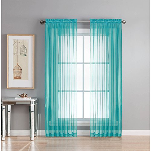 Window Elements Diamond Curtain Turquoise
