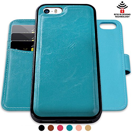 SHANSHUI Wallet Case Compatible iPhone SE/ 5/ 5S, [RFID Blocking] [Detachable] 2 in 1 PU Leather Wallet Case - Turquoise