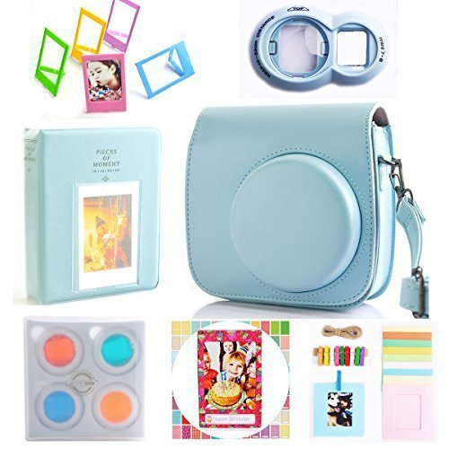 Hellohelio 7-in-1 Accessories Bundle Set for Instax Mini 9 8 8+ Instant Film Camera – Blue