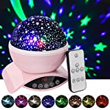 Amouhom Night Light Baby Star Projector, 8 Color Rotation Lamp with Timer Remote and Chargeable, Dimmable Combinations Romantic Starry Sky Best Gift for Kids Festival Bedroom Living Room (Pink)