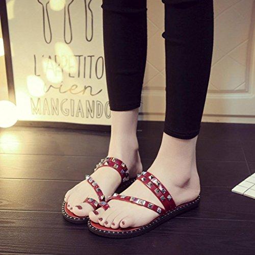Malloom® Damen Sommer Strand Plattform Hausschuhe Casual Keil Sandalen Frauen Schuhe Frauen Flache Rivet Thong Slipper Sandalen Rot