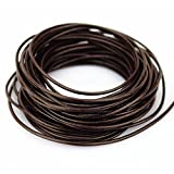 LolliBeads (TM) 2 mm Genuine Round Leather Cord Braiding String Dark Brown Espresso 10 Meters (10 Yards)