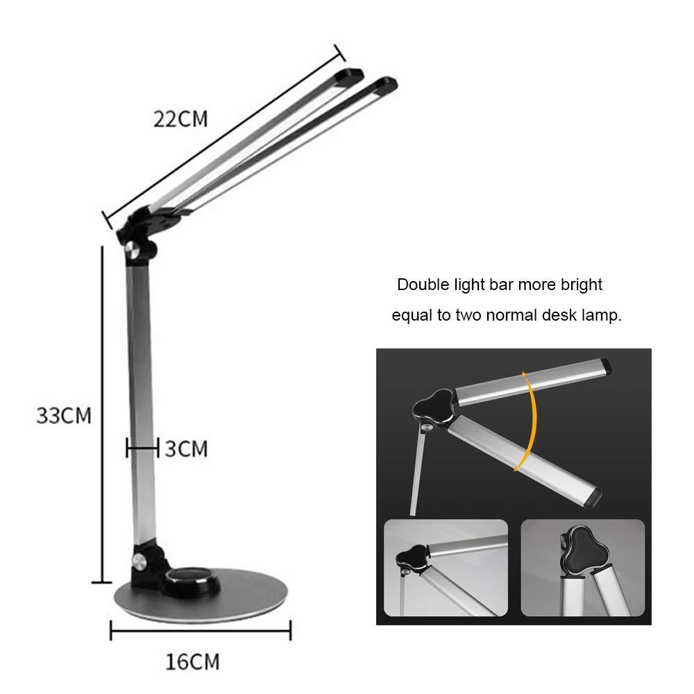 LED Schreibtischlampe,Tischlampe dimmbar LED Leselicht Schreibtischlicht usb Ladeanschluss Touchsteuerung f/ür kinder Studie arbeiten silber