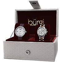 Burgi Women's BUR134SS Analog Display Swiss Quartz Watch Set