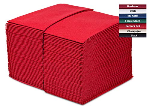 GreenOlive Paper Dinner Napkins Red 100 Pack – Thick Linen Feel – Disposable Hand Towels or Guest Towels For Wedding…