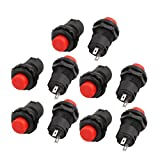 uxcell 10 x Momentary SPST NO Red Push Button Switch AC 250V/1.5A 125V/3A