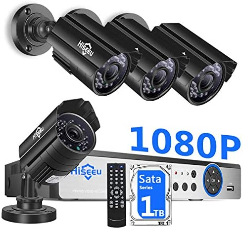 H.265 Hiseeu Security Camera System Wired,4Pcs 1080P AHD Cameras Expandable 8CH DVR,Phone PC Remote Viewing,Motion Alert,Night Vision,IP66 Waterproof,24 7 Record,Easy Setup,1TB Hard Drive