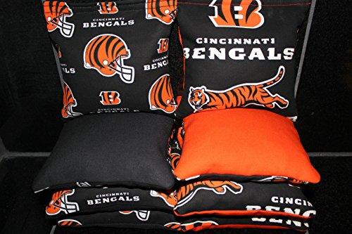 CORNHOLE BEANBAGS made w CINCINNATI BENGALS Fabric 8 ACA Reg (Cornhole Bags Cincinnati)
