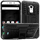 Mesh Kickstand Rugged Hard Armor Hybrid Bumper Back Case Cover for Coolpad Note 3 Plus (Black)