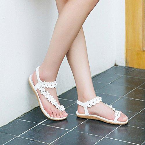 Euone Summer Bohemia Sandalias Con Cuentas Dulces Sandalias Con Punta De Clip Zapatos De Playa Sandalias De Espiga Zapatos Blancos