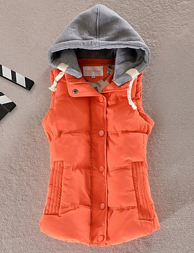 Vest All Women'S Down Match Colors 2XL Hooded Orange Fashion ZHUDJ More xYHPEX