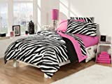Back-To-School 30-Piece Dorm Room Superset, Twin, Extra Long , Zebra/Pink