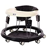 Ibnotuiy Adjustable Eight Height Folding Baby Walker Anti Rollover Learning Walking Toy Car Free Installation for Baby 6-18 Months Black