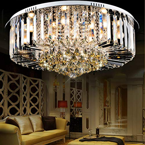 (ZLIANG LED Ceiling Light Atmosphere Round Chrome Simple Crystal Glass Lampshade Flush Mount Ceiling Light Chandelier for Dining Room Bathroom,Remotedimming,5030CM )