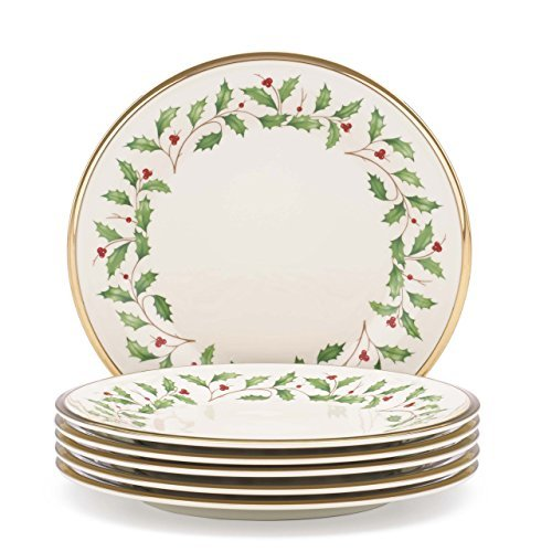 Christmas Tableware - Lenox Holiday Set of 6 Salad Plates