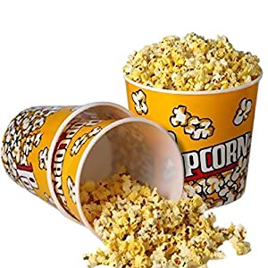 """Novelty Place Retro Style Plastic Popcorn Containers for Movie Night - 7.25"""" Tall x 7.25"""" Top Diameter (3 Pack)"""