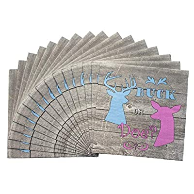 Havercamp Buck or Doe? Luncheon Napkins(16 Pack) Gender Reveal Party Collection: Toys & Games