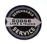 "Dodge Cars & Trucks Dependable Service Retro, Vintage, Look 12"" Round Tin Sign"