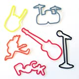 Fun Rock and Roll Shapes Silly Bandz Rubber Band Bracelets Party Favors - 6 Packs with 24 Bands in Each Pack (144 Wristbands Total)