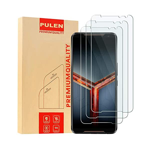 [3 Pack] PULEN for Asus ROG Phone 2 ZS660KL(2019) Screen Protector,HD Anti-Fingerprints Scratch Resistance Bubble Free 9H Hardness Tempered Glass for ASUS ROG Gaming Phone II ZS660KL(2019) 1