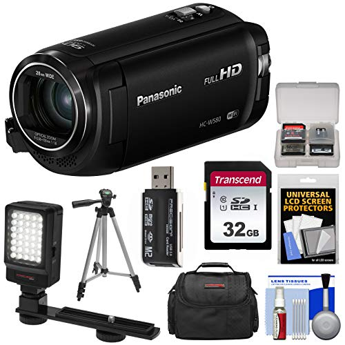 - Panasonic HC-W580 Twin Wi-Fi HD Video Camera Camcorder with 32GB Card + Case + Tripod + LED Light + Reader + Kit