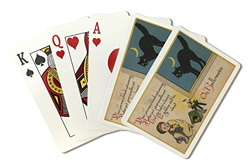 Halloween Greeting - Black Cat (Playing Card Deck - 52 Card Poker Size with Jokers) -