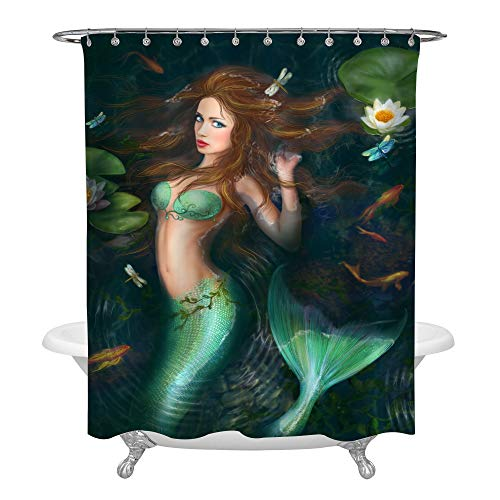 MitoVilla Sea Mermaid Shower Curtain Green Decor, Beautiful Fantasy Mermaid in Lake with Lotus and Fish Art Paint, Fairy Ocean Life Bathroom Accessories, Gifts for Women Ladies, 72W X 78L inches Long