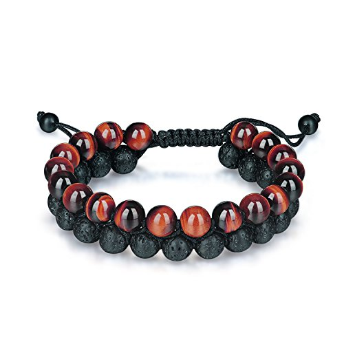 HASKARE Genuine Stone Beads Bracelet - Tiger Eye Lava Rock Essential Oil Diffuser Bracelet Natural Healing Stone Beads Bracelet 8mm Couples Adjustable