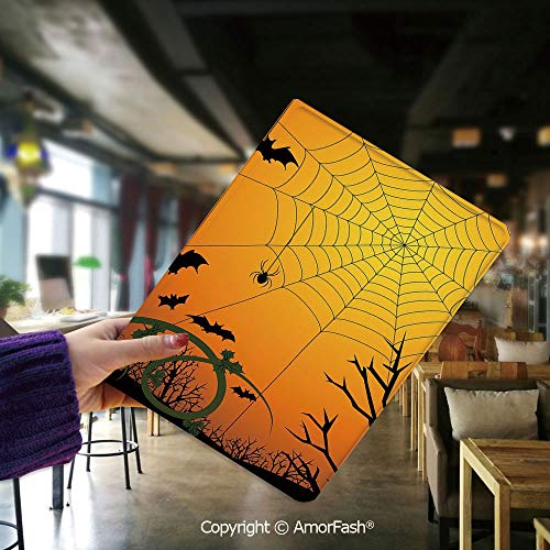 Samsung Galaxy Tab E 9.6 Case,T560 and T561,[Coloured Drawing Pattern],Spider Web,Halloween Themed Composition with Pumpkin Leaves Trees Web and Bats Decorative,Orange Dark Green Black -
