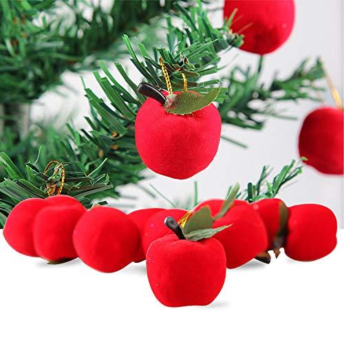 Whitegeese 12Pcs Christmas Tree Red Apple Fruit Pendant Decoration Supplies Festival Party Ornament